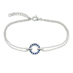 White gold sapphire Meridian circle bracelet