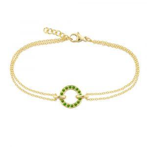 Yellow gold tsavorite garnet circle bracelet