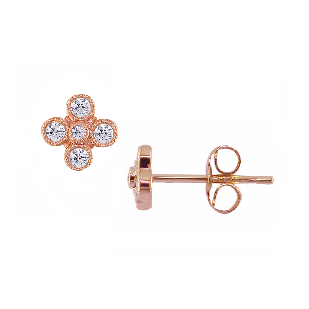 Rose gold diamond Retro stud earrings
