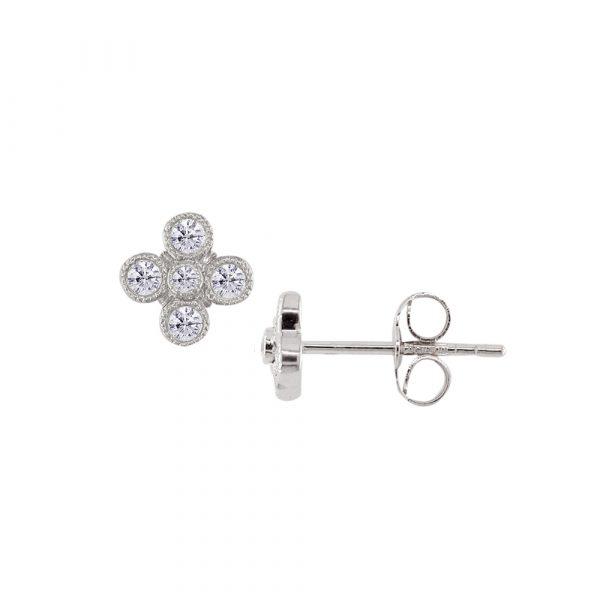 White gold diamond Retro stud earrings