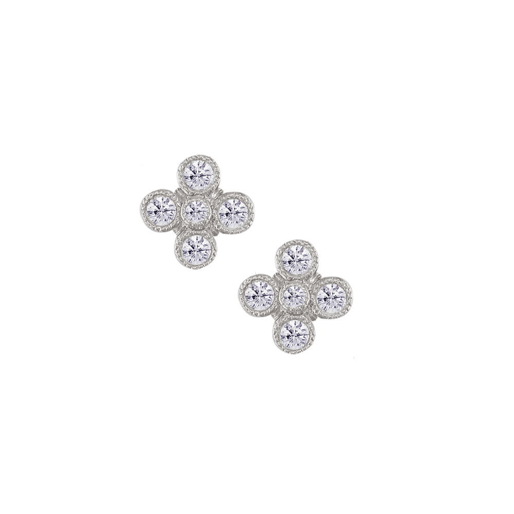 White gold diamond Retro stud earrings