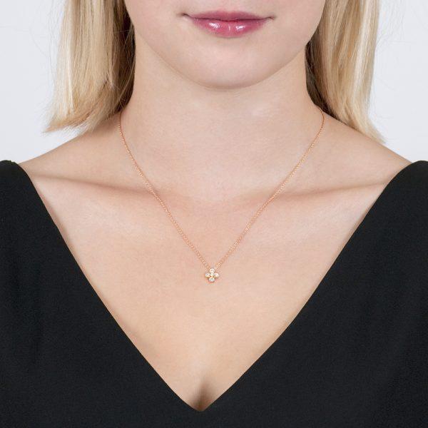 Rose Gold Diamond Retro Cluster Pendant