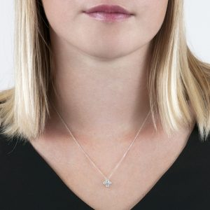 White gold diamond Retro pendant necklace