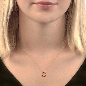Rose gold ruby circle Meridian pendant