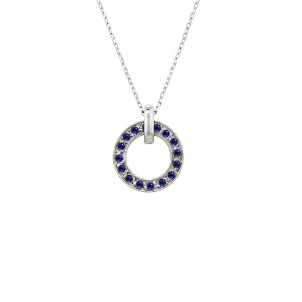 Circle Meridian White Gold Sapphire Pendant