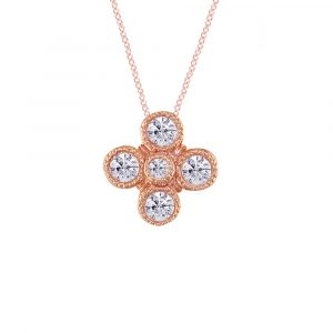 Retro Rose Gold and Diamond Pendant