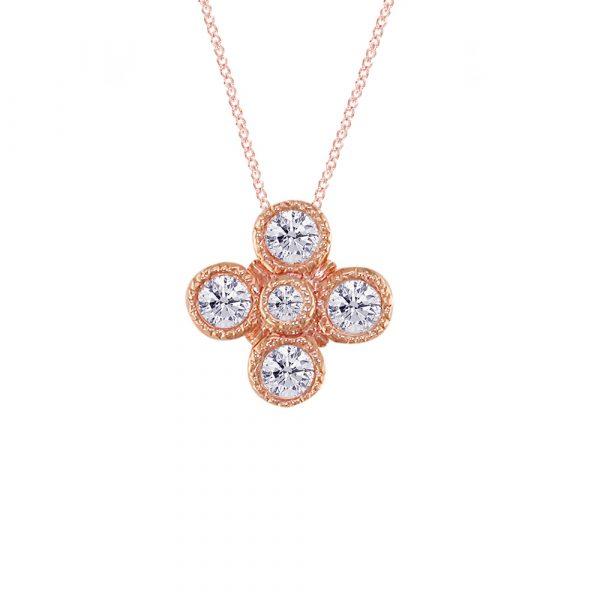 Retro Rose Gold and Diamond Pendant