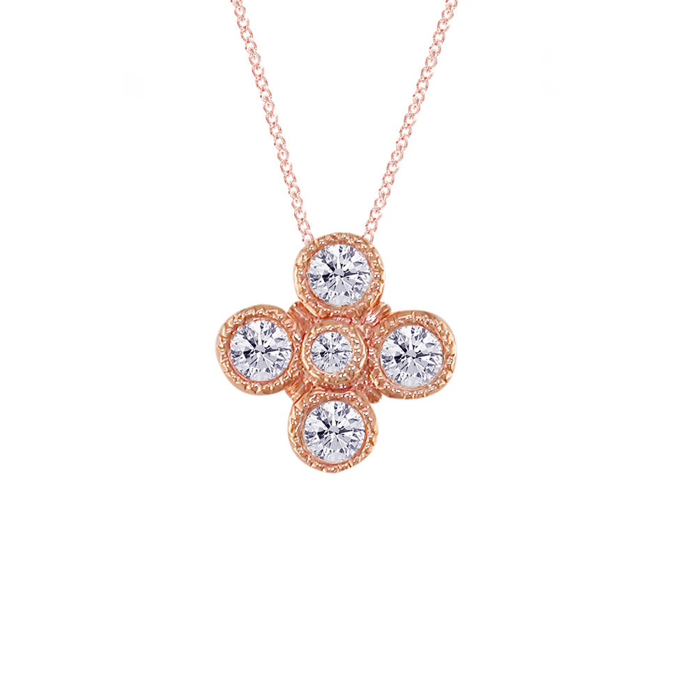 White Gold Diamond Retro Cluster Pendant