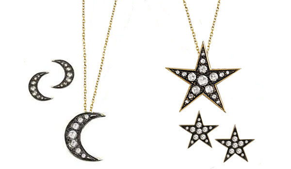 Yellow gold rose cut diamond starry night moon and star pendant and earrings