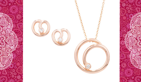 Rose gold diamond matching pendant and earrings