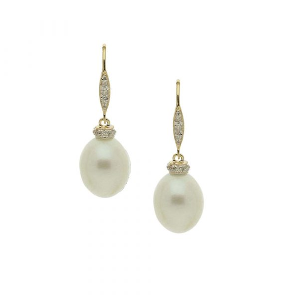 Yellow White gold diamond cultured freshwater pearl drop earrings