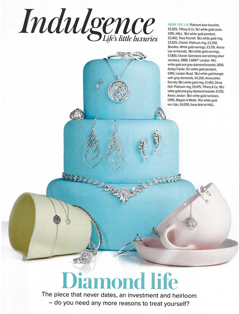 White gold diamond jewellery on a cake