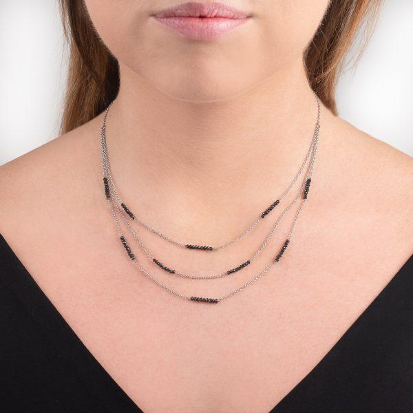 White gold black diamond bead necklace