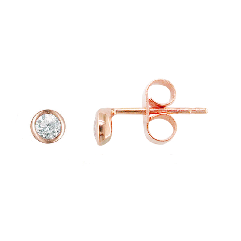 Rose gold diamond stud Raindrop earrings