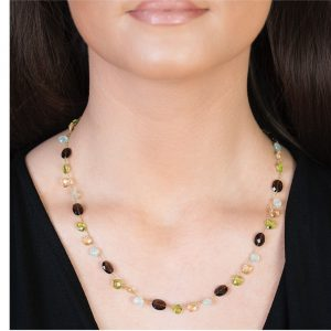 Yellow gold multi stone carnival necklace
