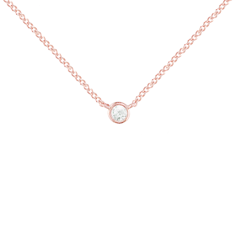 Rose gold diamond solitaire pendant