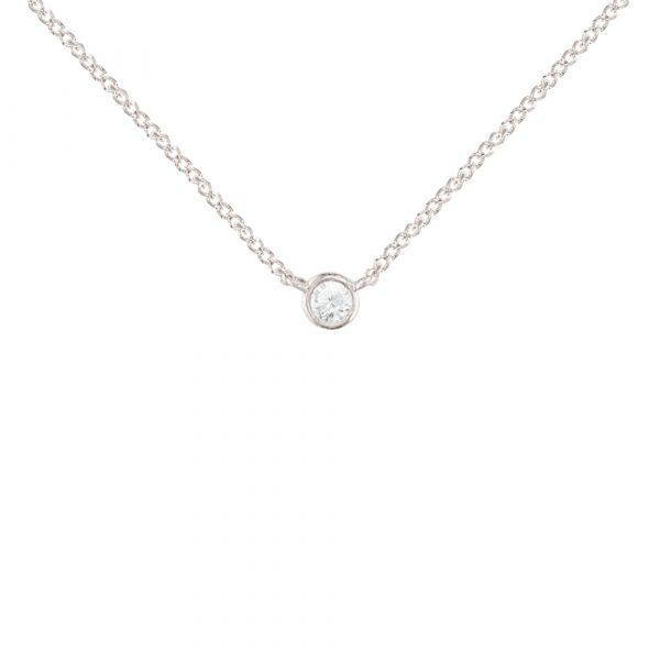 White gold diamond solitaire pendant