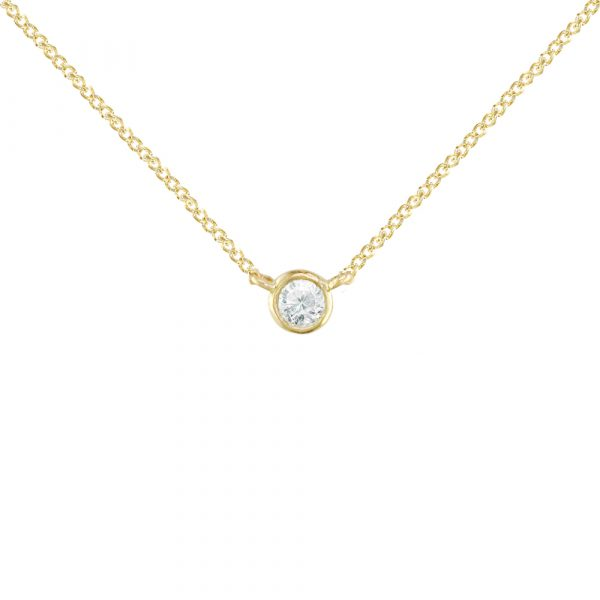 Gold Solitaire Diamond Pendant