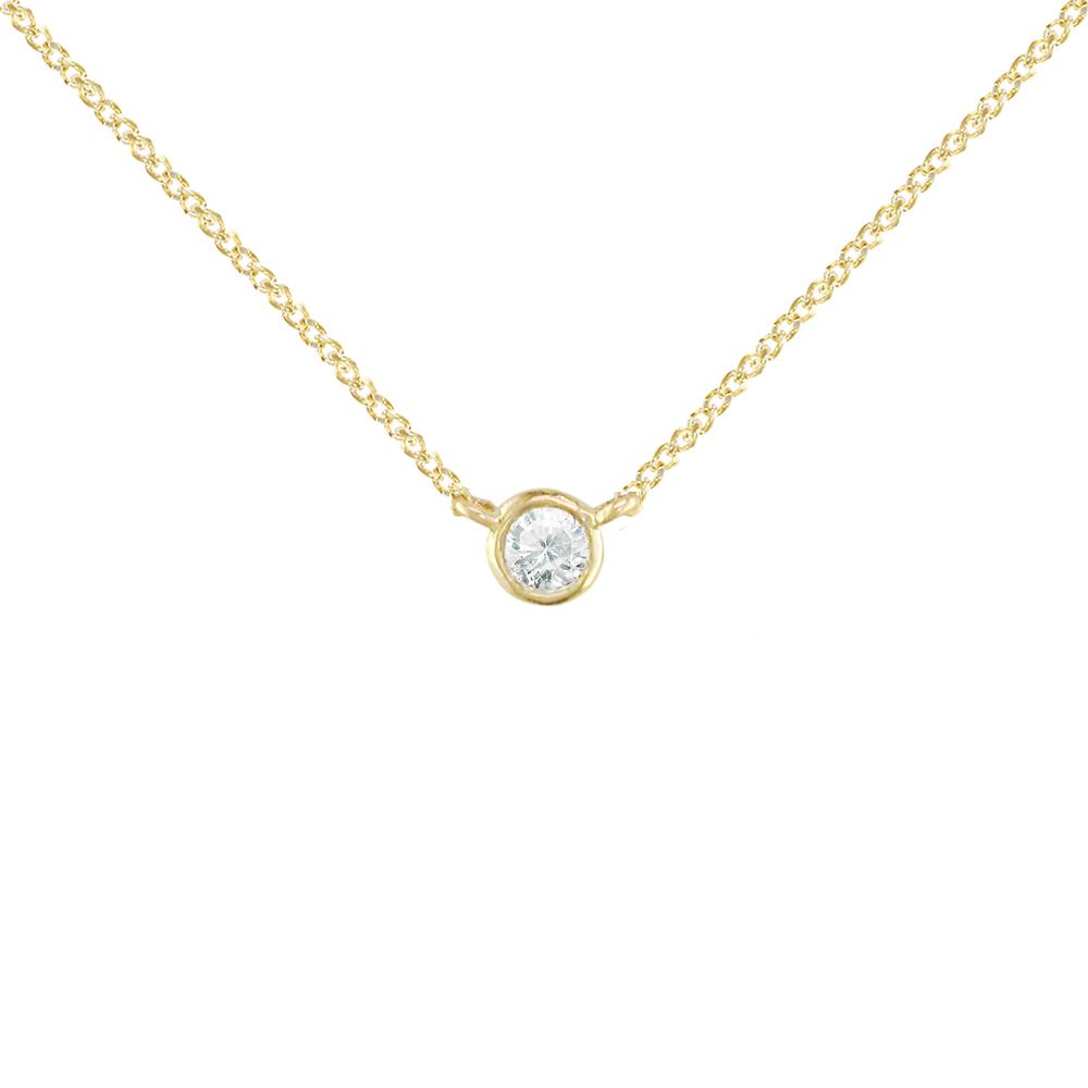 Yellow gold diamond solitaire pendant