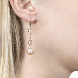 Gold Rose Quartz and Pearl Drop Earrings