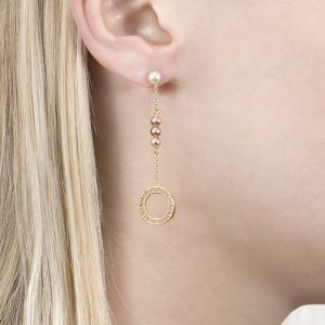 Pearl and Gold Disc Drop Earrings