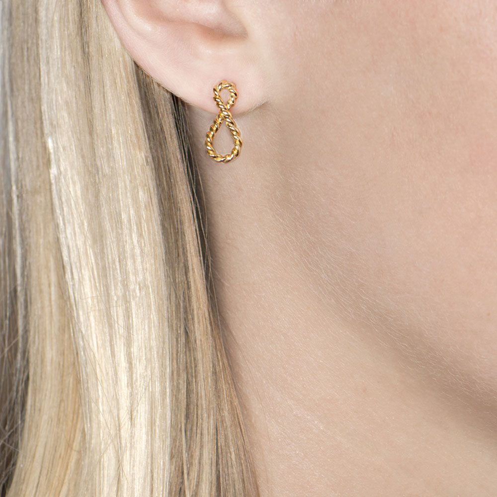 Yellow Gold Infinity Drop Earrings