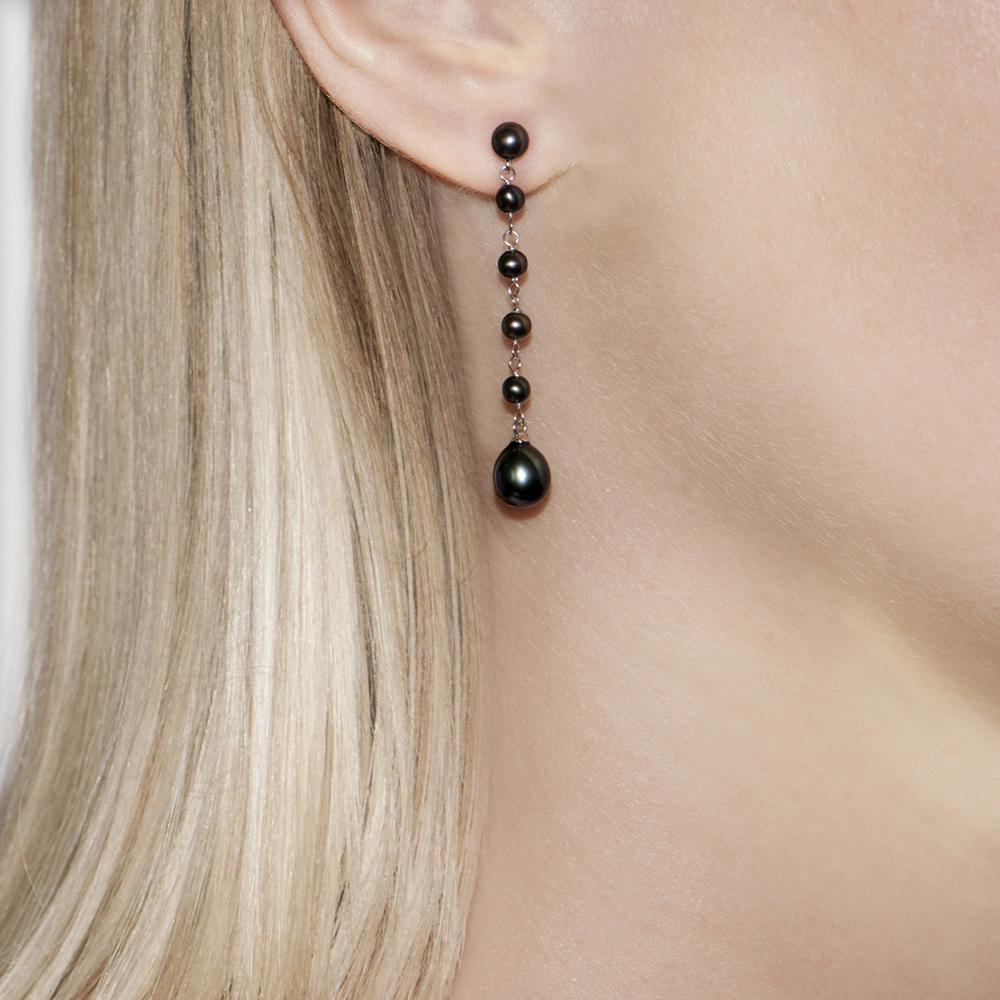 Long Teardrop Grey Pearl Earrings