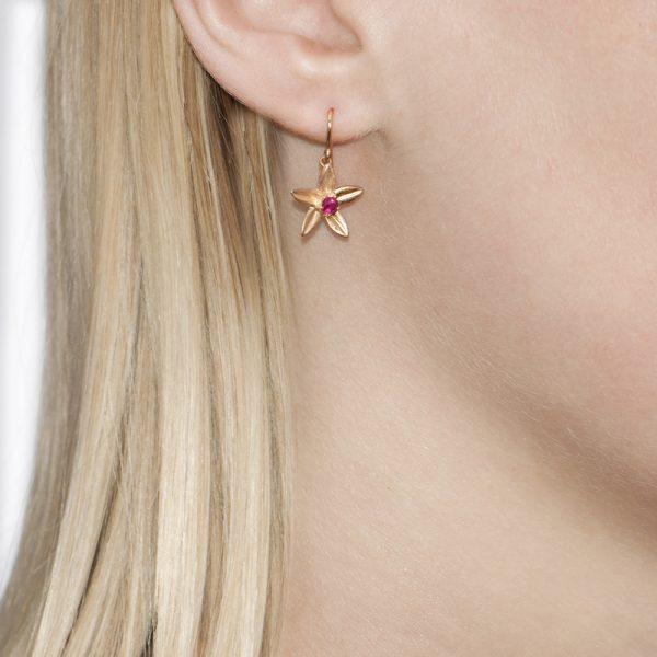 Rose Gold Ruby Starflower Drop Earrings