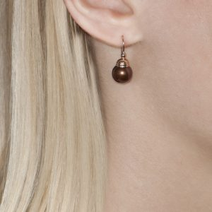 Bronze Pearl Rose Gold Ball Drop Earrings