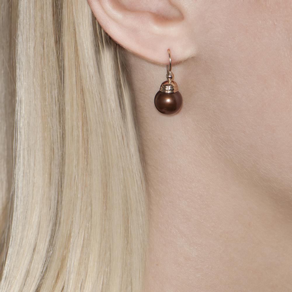 Bronze Pearl Rose Gold Ball Drop Earrings