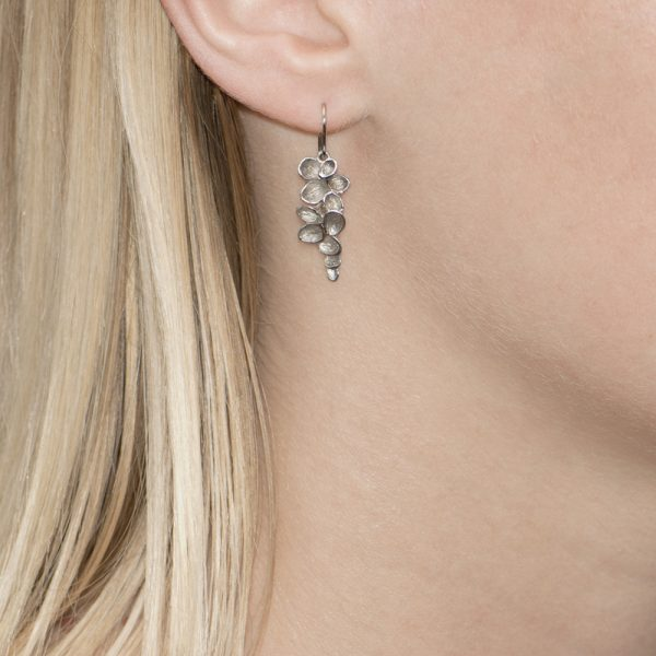 Silver Falling Leaves Drop Earrings