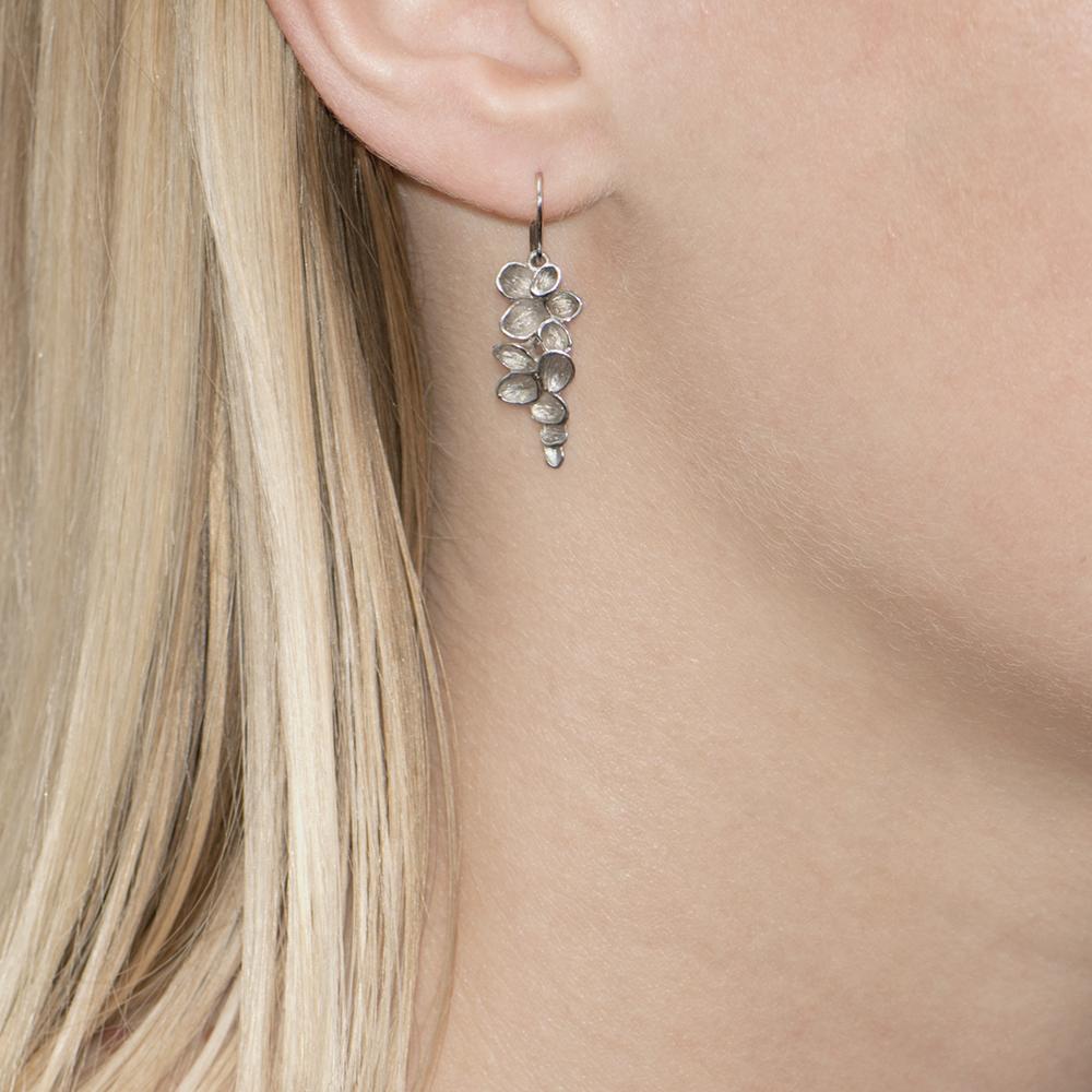 Silver Falling Leaves Drop Earrings