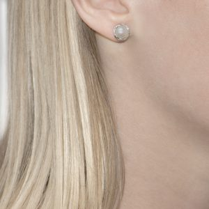 Willow Silver Single Pearl Stud Earrings