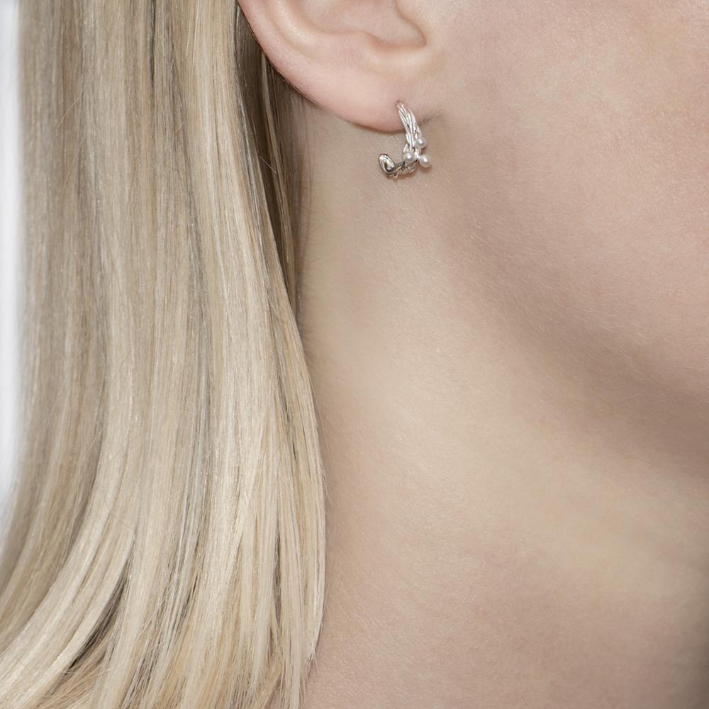 Willow Silver Single Pearl Stud Earrings