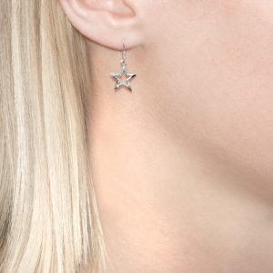 Silver Starry Night Star Drop Earrings