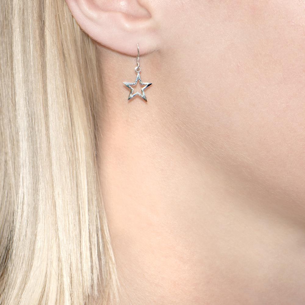 Silver Starry Night Star Drop Earrings