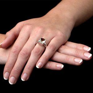 White Gold Cushion Green Amethyst Ring