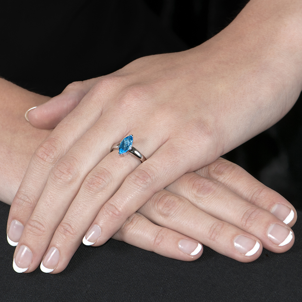 Exclusive White Gold Marquise Blue Topaz Ring - London Road Jewellery