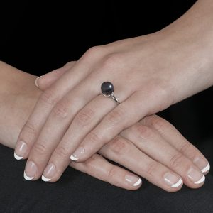 White Gold Grey Pearl Ball Ring