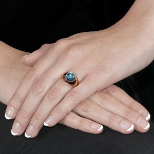 Rose Gold Blue Topaz Bubble Ring