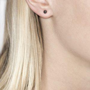 White Gold Black Diamond Ball Stud Earrings