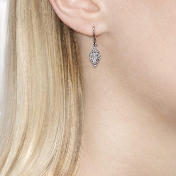 Enchanted White Gold Evil Eye Diamond Drop Earrings