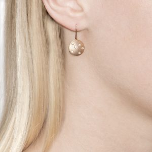 Diamond Rose Gold Disc Drop Earrings