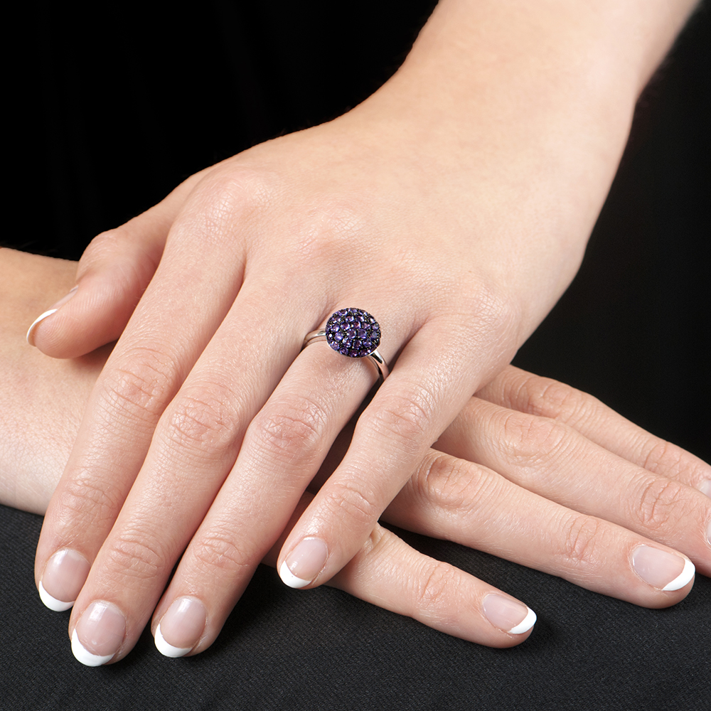 White Gold Amethyst Ball Ring
