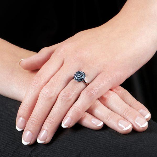 White Gold Blue Topaz Ball Ring