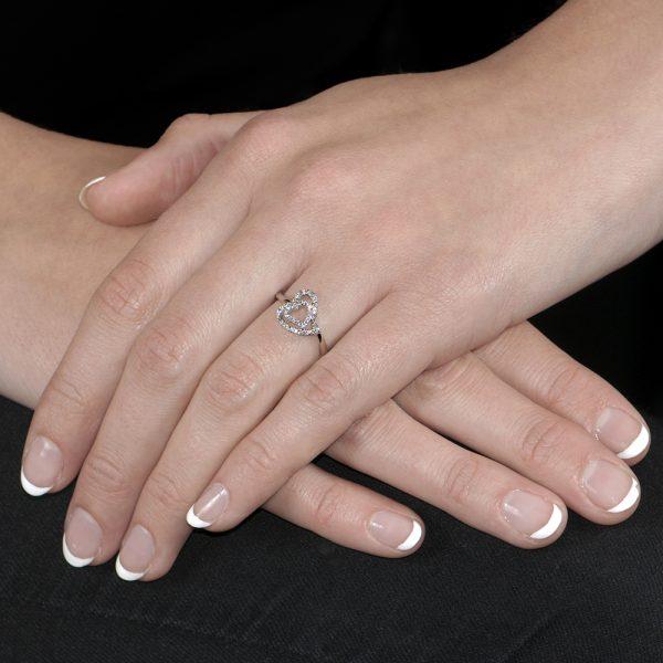 White Gold Diamond Open Heart Ring