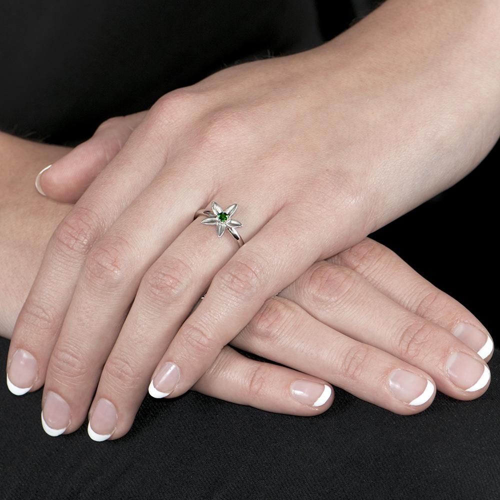 White Gold Tsavorite Starflower Ring