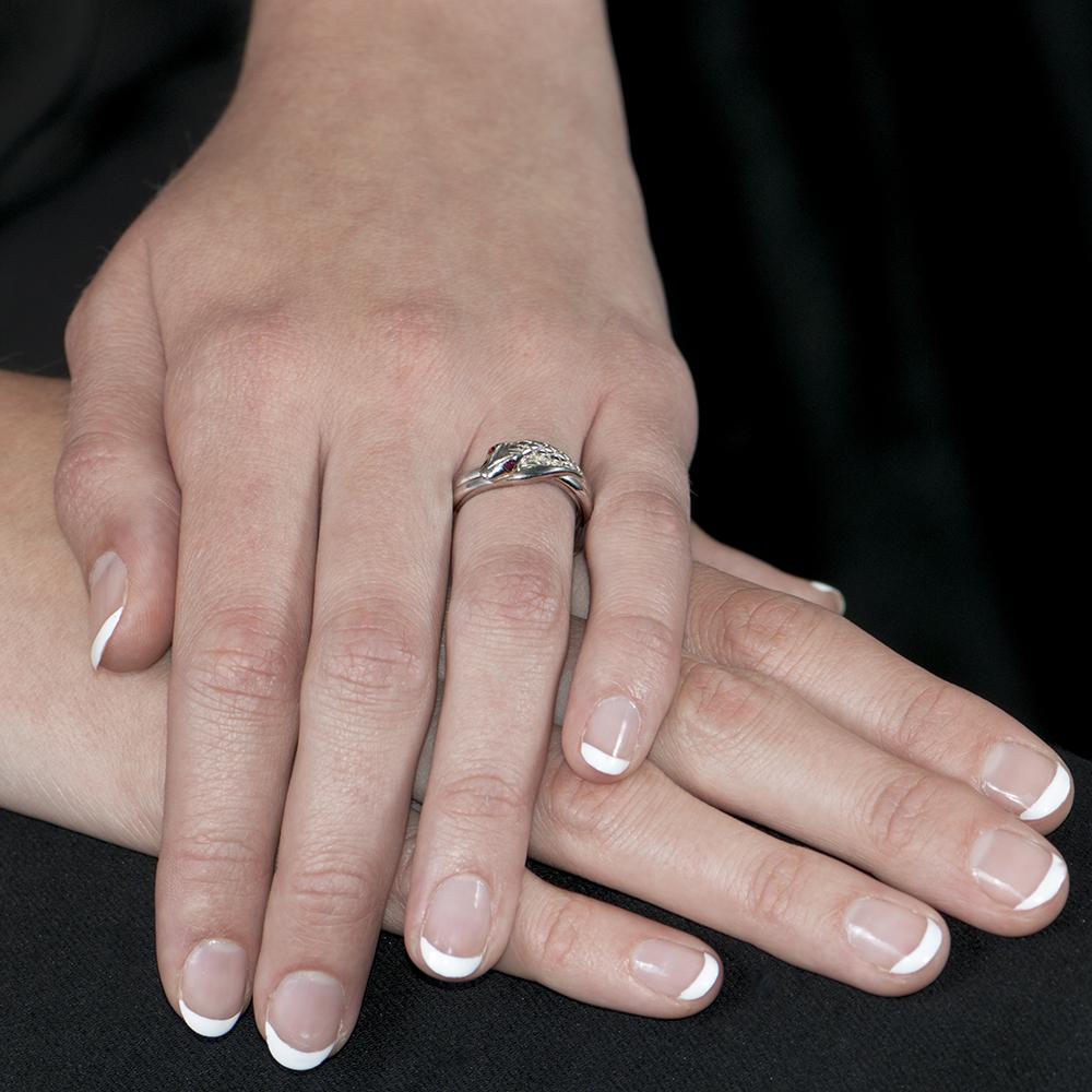 Stunning Silver Ruby Kew Snake Ring - London Road Jewellery