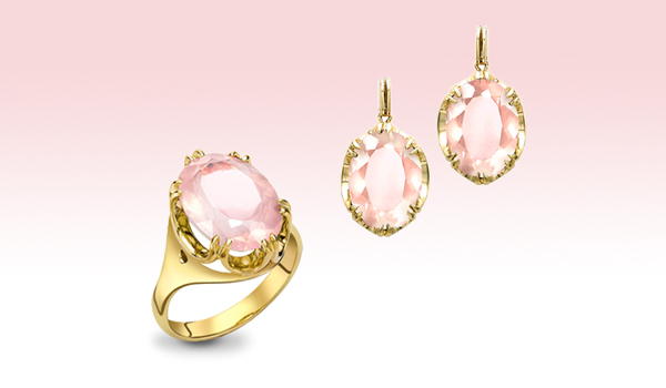 Yellow gold rose quartz Cocktail ring and earrings