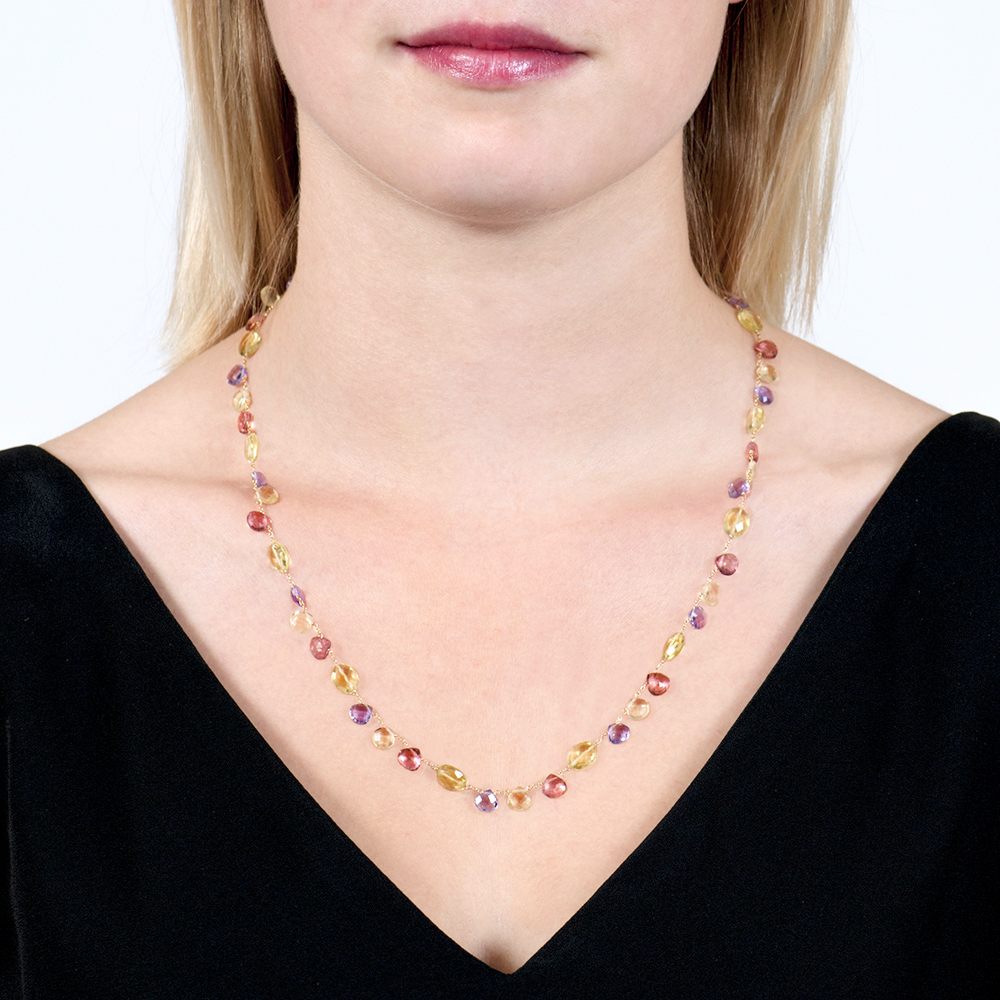 Yellow Gold Multi-coloured Gemstone Carnival Necklace